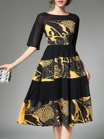 Color Block Print A-Line Dress