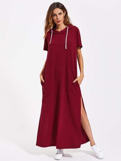 Drop Shoulder Slit Side Hooded Dress