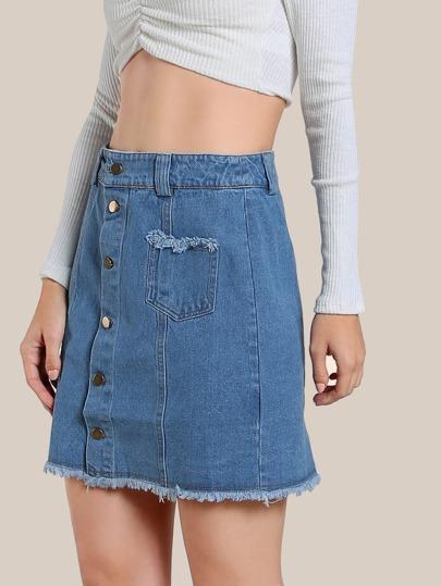 Front Pocket Denim Skirt BLUE