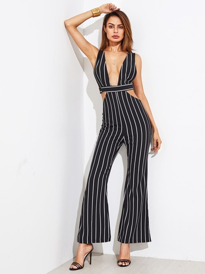 Plunge Open Back Striped Flare Jumpsuit