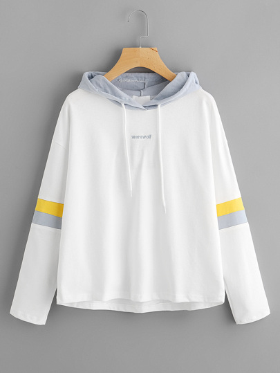 Letter Embroidered Striped Sleeve Hoodie