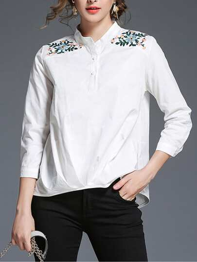 Botanical Embroidered Crinkle Shirt