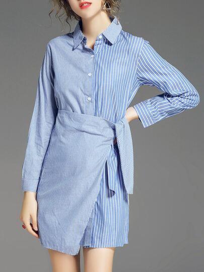 White And Blue Striped Asymmetric Dress