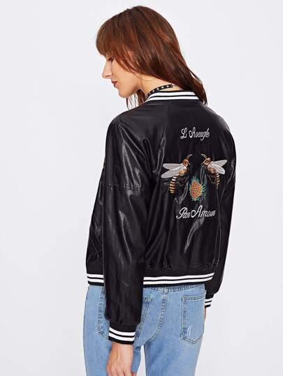 Bee Embroidery Striped Trim PU Bomber Jacket