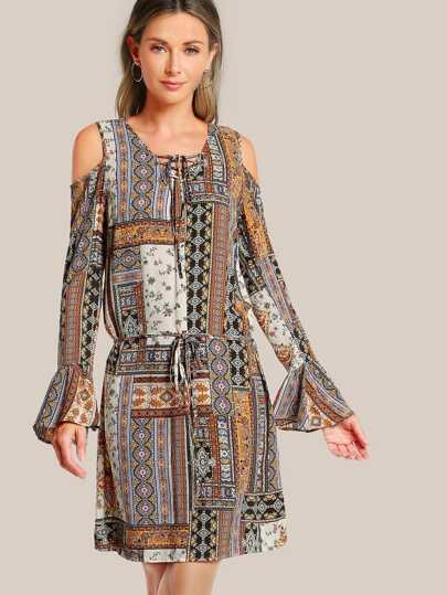 Multi Print Dress BROWN
