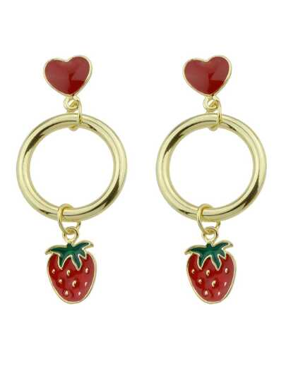 Strawberry Heart Shaped Exquisite Fashion Earrings
