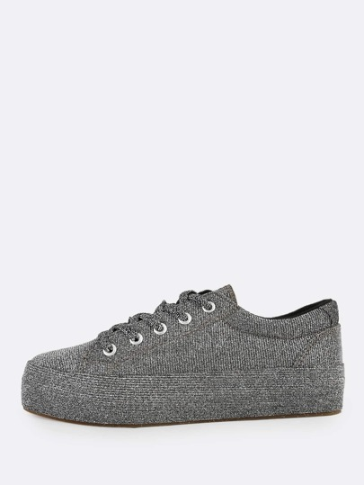 Glitter Lace Up Sneakers PEWTER