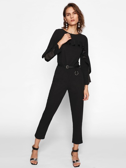 Frill Trim Tailored Jumpsuit