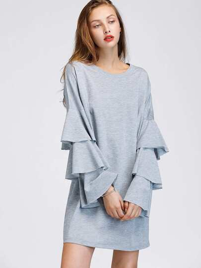 Tiered Fluted Sleeve Marled Tee Dress