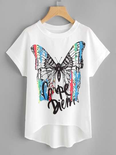 Camicetta in chiffon con stampa di farfalla