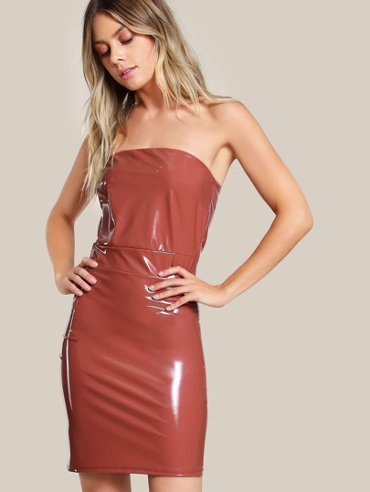 Strapless Latex Bodycon Dress MARSALA
