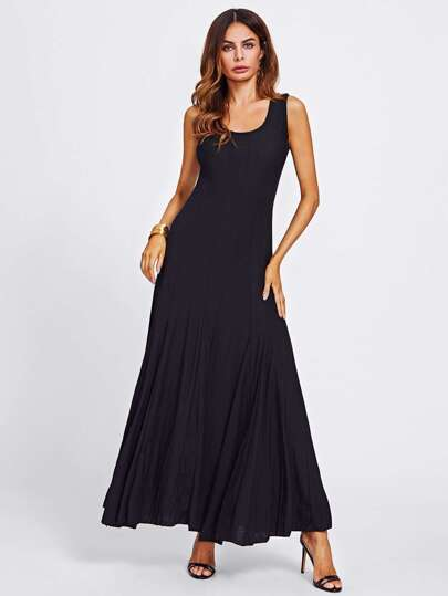 U Neck Full Length Flowy Dress