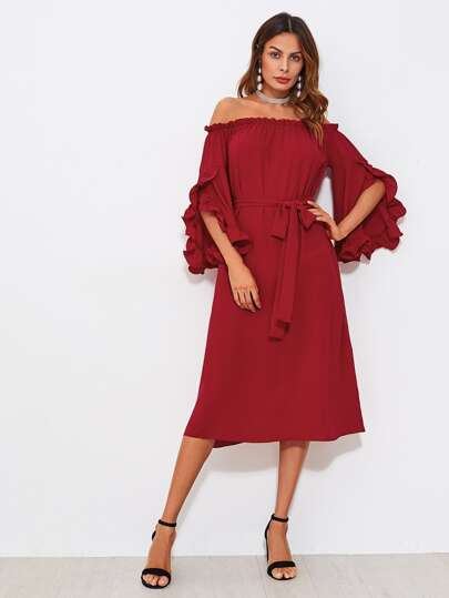 Frill Tulip Sleeve Self Tie Bardot Dress