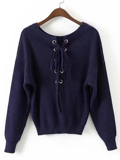 Eyelet Lace Up Ribbed Sweater