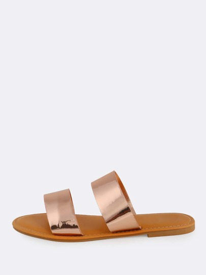 Double Band Flat Sandals ROSE GOLD