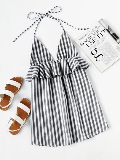 Kleid mit Neckholder und schößchem Saum