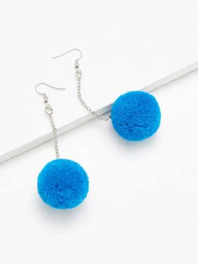 Pom Pom Design Long Drop Earrings