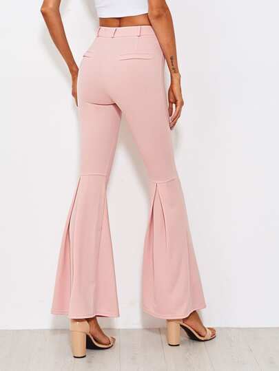 Fold Pleat Back Flare Pants