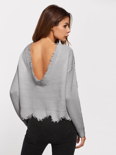 Pull festonné dos en forme de cuillère