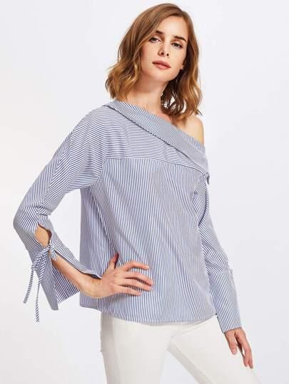 Fold Over Oblique Shoulder Striped Blouse