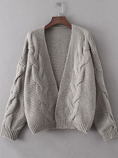 Cable Knit Open Front Sweater Coat