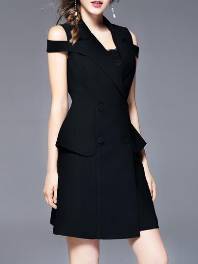 Open Shoulder Peplum Sheath Dress