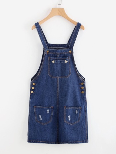 Strap Denim Overall Dress