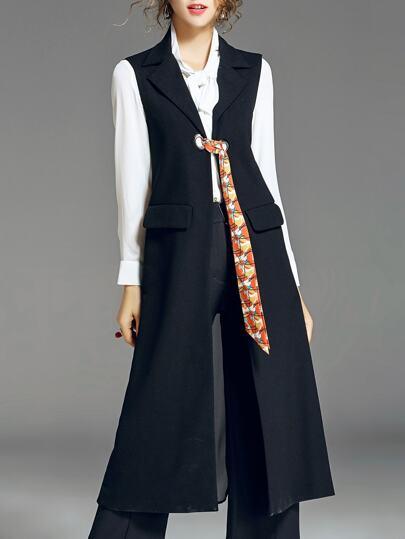 Lapel Tie Pockets Long Vest