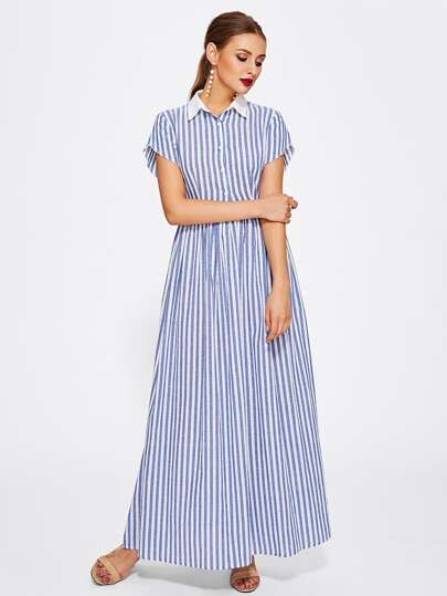 Half Placket Striped Smock Shirt Dress