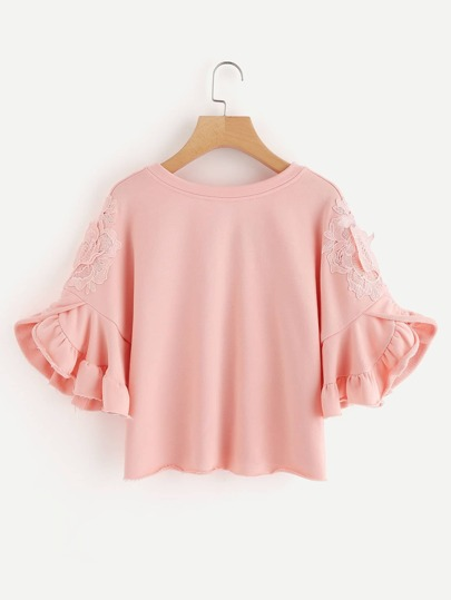 Lace Applique Ruffle Sleeve Raw Hem Sweatshirt