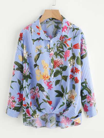 Mixed Print Box Pleated Gathered Hem Blouse