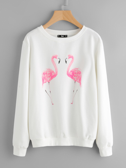 Sweat-shirt imprimé flamant