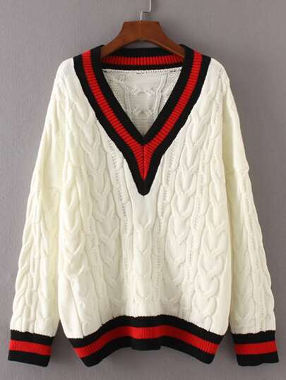 Contrast V Neckline Cable-Knit Sweater