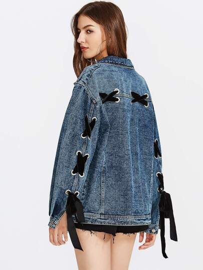 Eyelet Lace Up Detail Denim Jacket