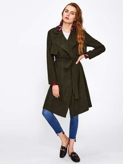 Gun Flap Detail Wrap Coat