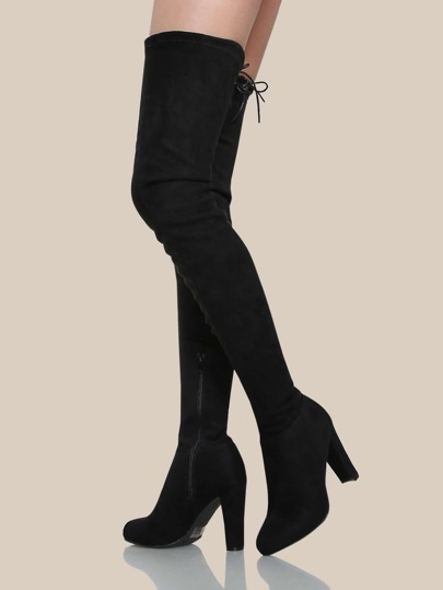 Drawstring Tie Thigh High Boots BLACK