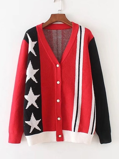 Color Block Star Print Cardigan
