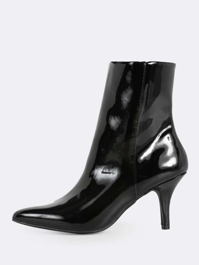Patent Zip Up Point Toe Heel Boots BLACK