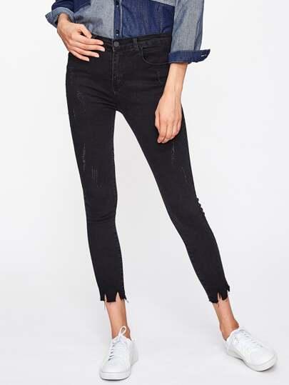 Frayed Hem Skinny Jeans