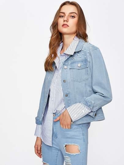 Jeans Jacke mit Perlen