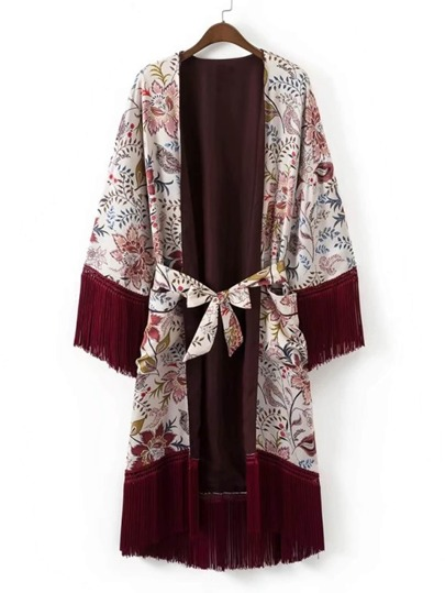 Kimono largo con estampado y ribete de flecos