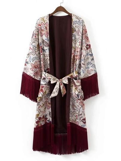 Calico Print Fringe Trim Self Tie Longline Kimono