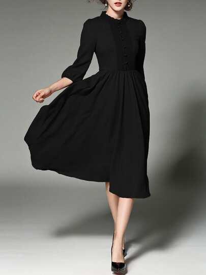 Lace Paneled Button Front Shirt Dress