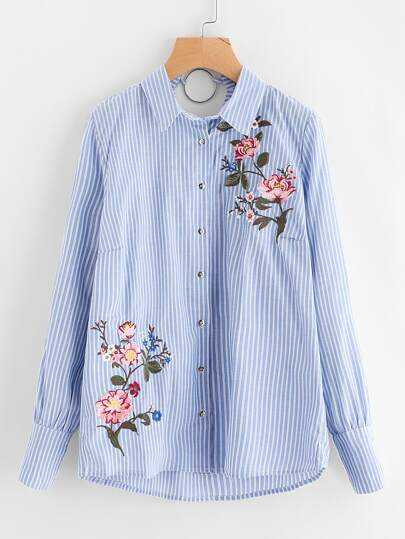 Flower Embroidered O-Ring V Back Blouse