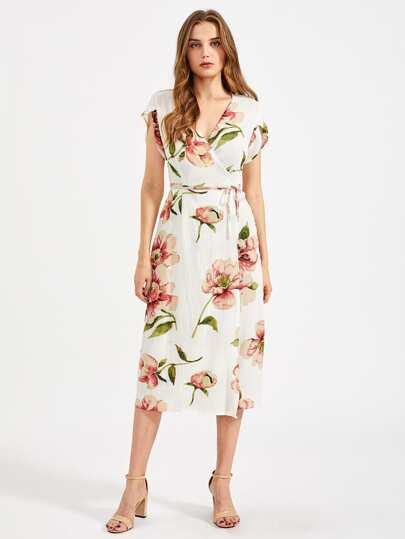 Vestido de gasa con estampado floral al azar