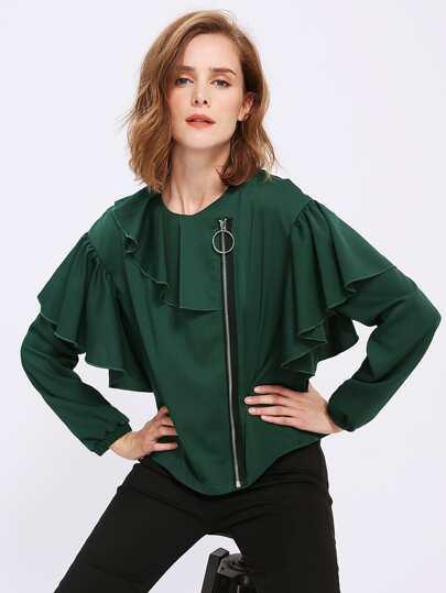 Flounce Trim Zip Up Jacket