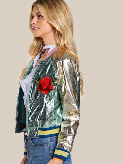 Two Tone Embroidered Jacket MINT GOLD