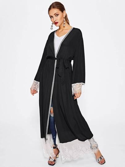 Self Tie Contrast Lace Trim Abaya