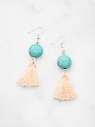 Tassel Drop Earrings With Turquoise
