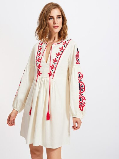 Tasseled Tie Lantern Sleeve Ukrainian Embroidered Dress